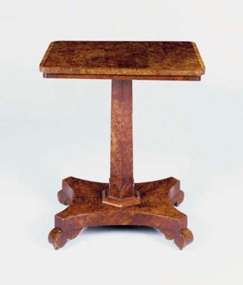 A REGENCY BURR-YEW CENTRE TABL