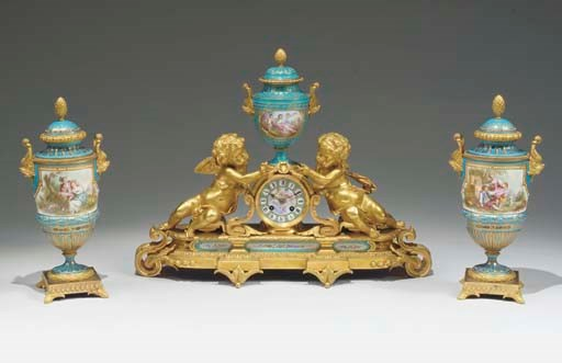 A matched ormolu-mounted Sevre