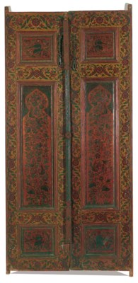 A PAIR OF PAINTED QAJAR WOODEN