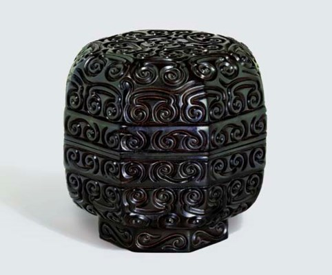 A LARGE RARE MING CARVED BLACK