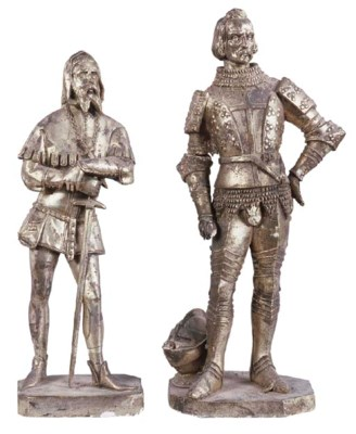 TWO SILVERED PLASTER FIGURES,