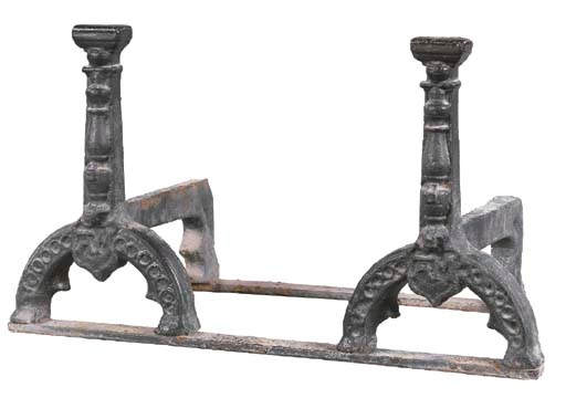 A PAIR OF ENGLISH CAST-IRON AN