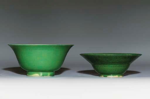 TWO GREEN-GLAZED BOWLS