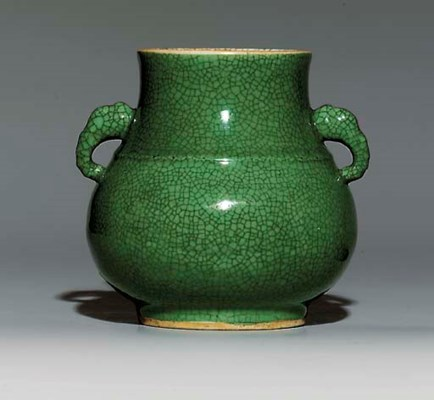 A GREEN GE-TYPE GLAZED VASE, H