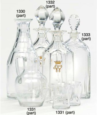 TWO ENGLISH GLASS MONOGRAMMED