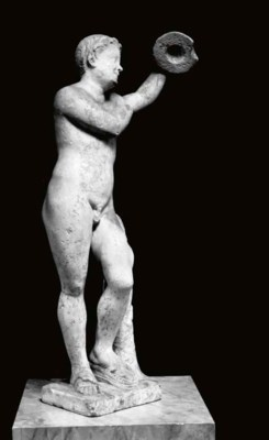 A ROMAN MARBLE STATUE OF A YOU