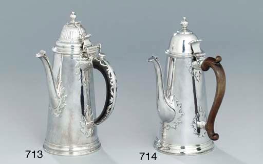 A Queen Anne silver chocolate-