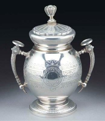 A RUSSIAN 19TH SILVER URN AND