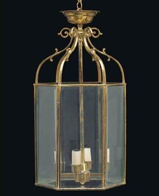 A brass hexagonal hall lantern