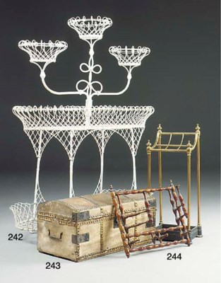 A Victorian painted wirework p
