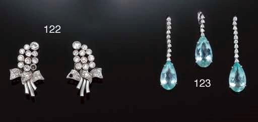 A pair of aquamarine and diamo