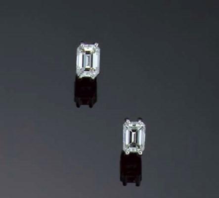 A pair of rectangular-cut diam