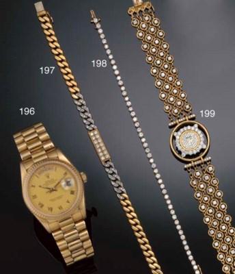 An 18ct. gold, diamond line br
