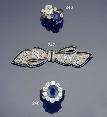 A sapphire and diamond two sto