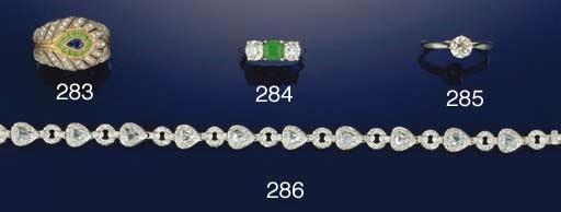 A sapphire, emerald and diamon