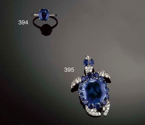 A charming French sapphire and