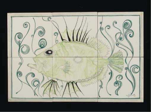 A CARTER'S TILE PANEL PAINTED