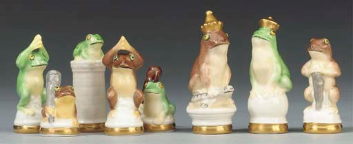A German porcelain frog chess