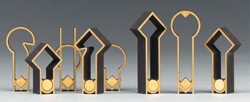 An abstract wood and brass mou