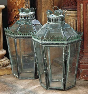 A PAIR OF COPPER LANTERNS