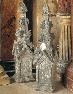 A PAIR OF ENGLISH GOTHIC REVIV