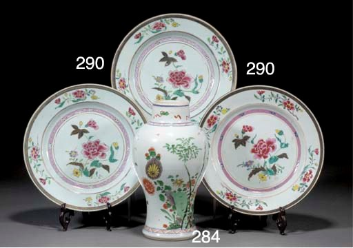 Three Chinese famille rose pla