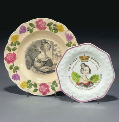 A creamware commemorative plat