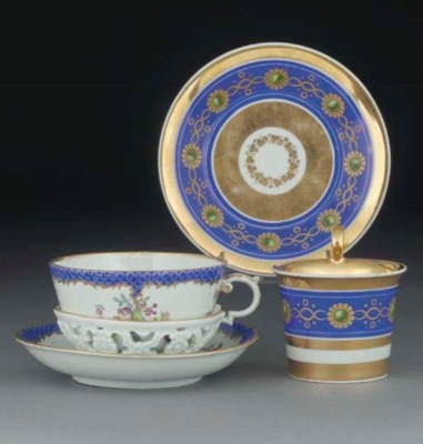 A Meissen blue-scale ground la