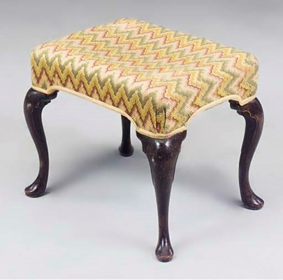 A RECTANGULAR MAHOGANY STOOL