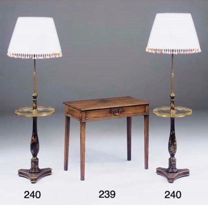 A pair of chinoiserie lamp sta