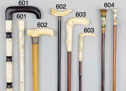An ivory mounted malacca cane