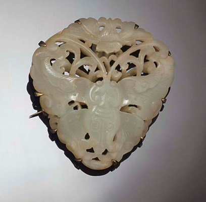 A Chinese celadon jade brooch,