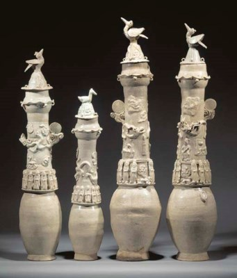 Four Yingqing pottery funerary