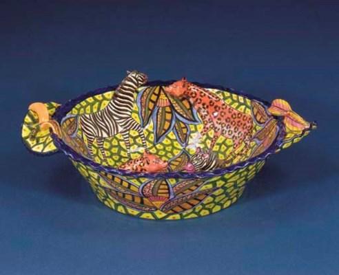 A zebra and leopard bowl