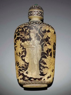 A Japanese incised and stained
