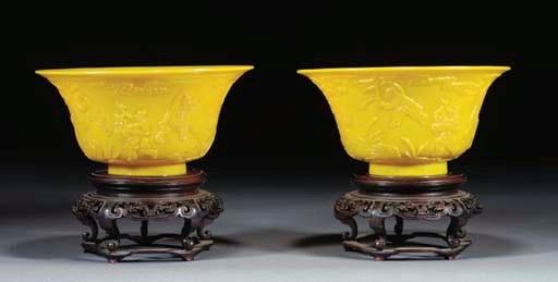 A pair of yellow Peking glass