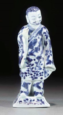 A Chinese blue and white figur