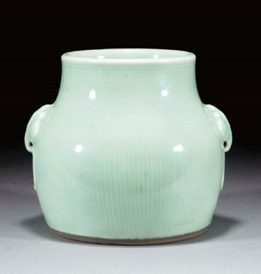 A Japanese celadon glazed jar,