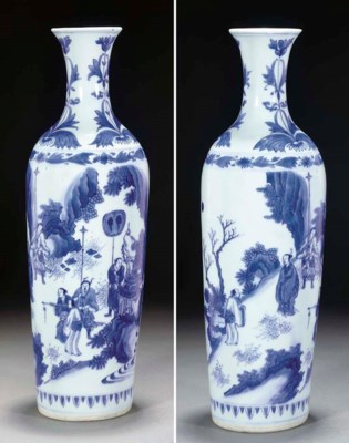 A Chinese blue and white slend