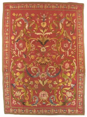 An embroidered hanging of crim