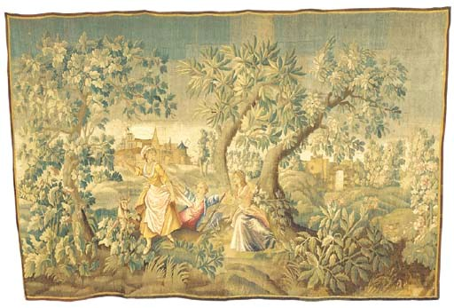 A large tapestry hanging, wove