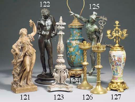 A set of six brass candlestick