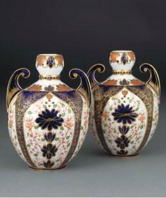 A pair of Derby Crown Porcelai