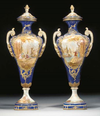 A pair of Sèvres-style pottery