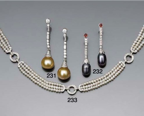 A pair of cultured pearl, diam