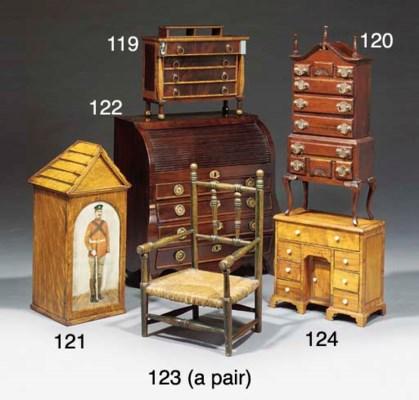 A miniature mahogany and burr