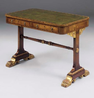 A MAHOGANY AND PARCEL GILT WRI