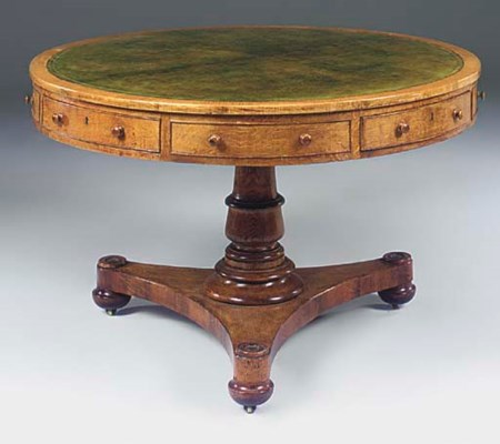A GEORGE IV OAK DRUM TOP LIBRA