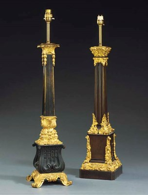 TWO FRENCH GILT AND PATINATED
