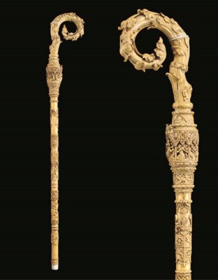 A CARVED IVORY CROZIER